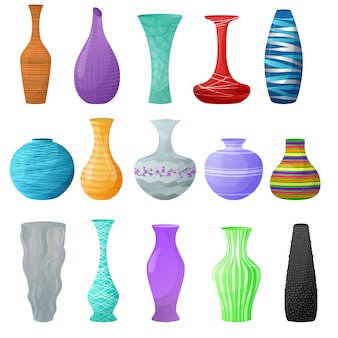 Dekorativer keramischer topf des vasenvektors und dekorglas-tonwareneleganzvasen eingestellt