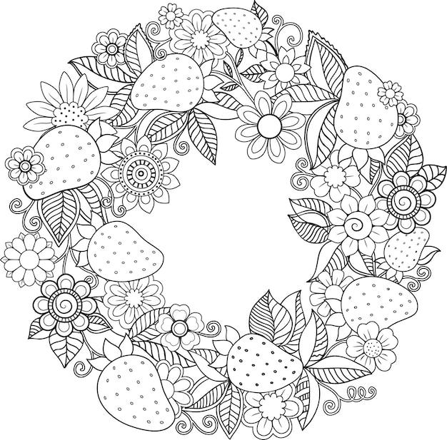 Dekorativer kranz aus doodle-erdbeeren und blumenillustration zum ausmalen