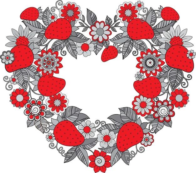 Dekorativer kranz aus doodle roten erdbeeren und blumen illustration zum ausmalen