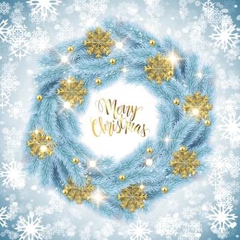 Dekorativer kranz des tannenbaums der frohen weihnachten, funkelnschneeflocken