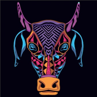 Dekorativer kuhkopf aus neonfarbe