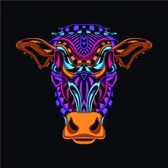 Dekorativer kuhkopf in leuchtender neonfarbe