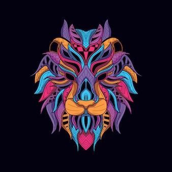Dekorativer löwenkopf aus leuchtender neonfarbe