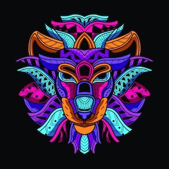 Dekorativer löwenkopf aus neonfarbe