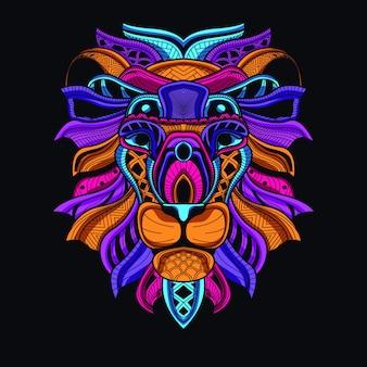 Dekorativer löwenkopf in leuchtender neonfarbe