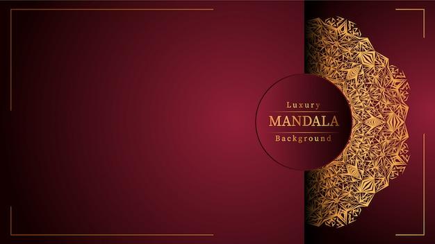 Dekorativer mandala-designluxushintergrund in der goldfarbe, luxusmandalahintergrund für hochzeitseinladung, bucheinband.
