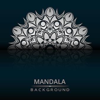 Dekorativer mandala-designluxushintergrund mit silberner farbe