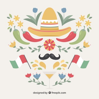 Dekorativer mexiko-elemente eingestellt