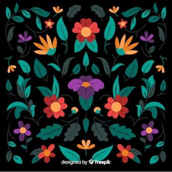Dekorativer mit blumenhintergrund der stickerei mexikanischer
