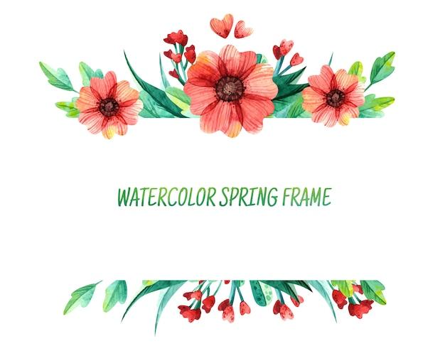 Dekorativer quadratischer rahmen des frühlingsblumenaquarells. helles laub mit roten und gelben blüten.
