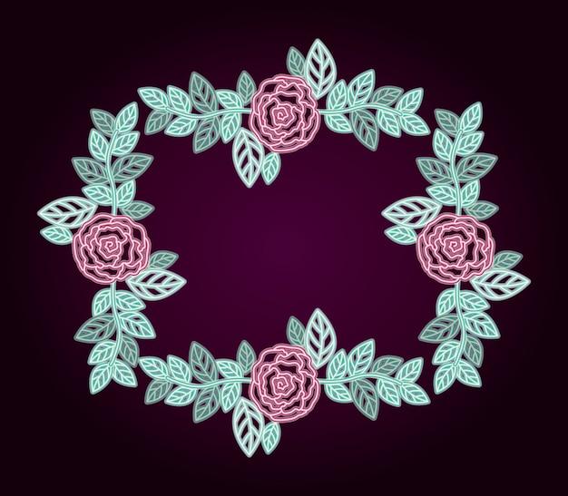Dekorativer rahmen der neonblumenrosen