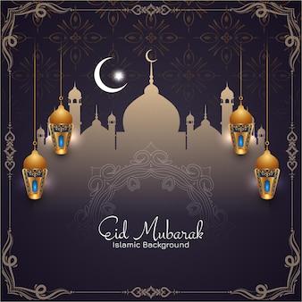 Dekorativer rahmen eid mubarak festival grußkarte