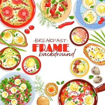 Dekorativer rahmen mit bunten eitellern für draufsicht des frühstücks über weiße flache illustration