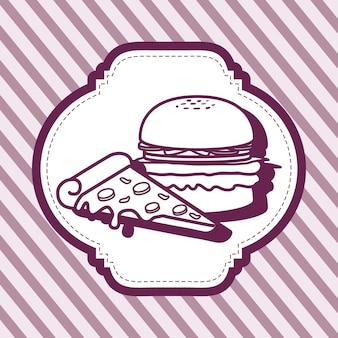 Dekorativer rahmen mit hamburger- und pizzeikone über purpurrotem gestreiftem hintergrund