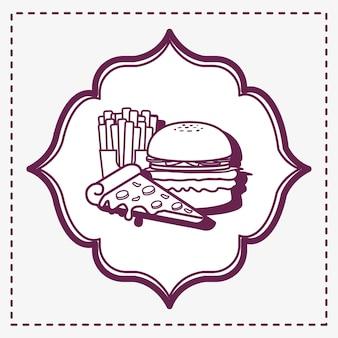 Dekorativer rahmen mit ikone des hamburgers und der pommes-frites über weißem hintergrund