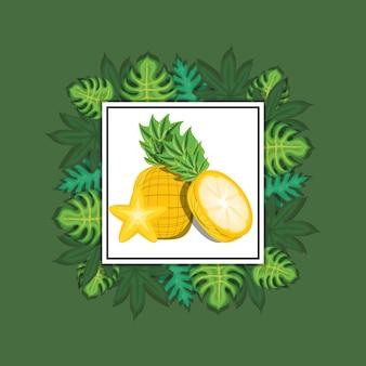 Dekorativer rahmen mit tropischen blättern herum und ananas