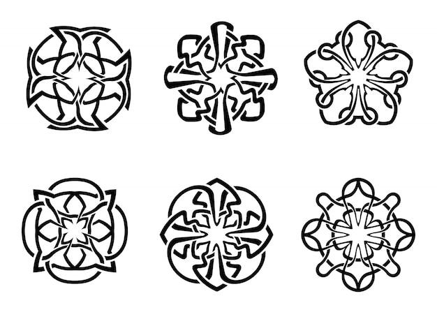 Dekorativer runder keltischer rahmensatz