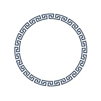 Dekorativer runder rahmen für design im griechischen stil