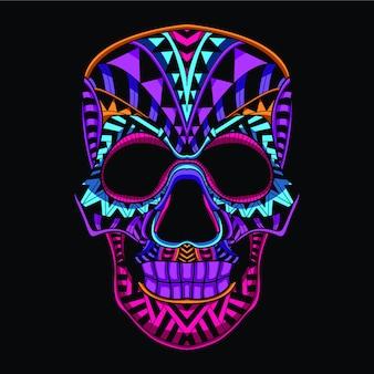 Dekorativer schädel aus neonfarbe