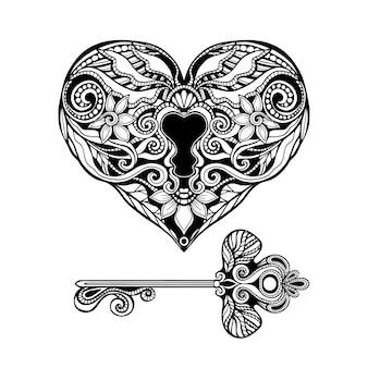 Dekorativer schlüssel und schloss