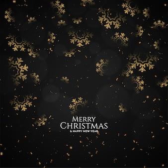 Dekorativer schneeflocken frohes weihnachtsfest schwarzer hintergrundvektor