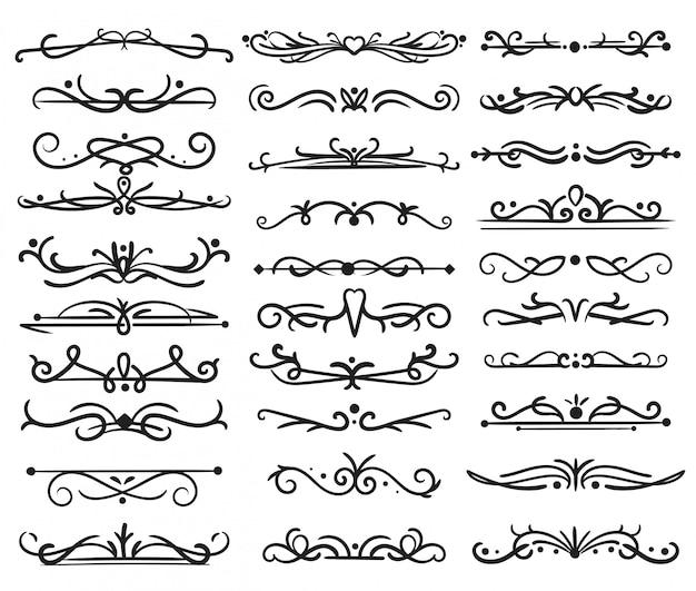 Dekorativer seitenteiler. vintage strudel, ornamente hochzeitsrahmen, blumentextränder, verzierte strudelteiler. vektor isoliertes design