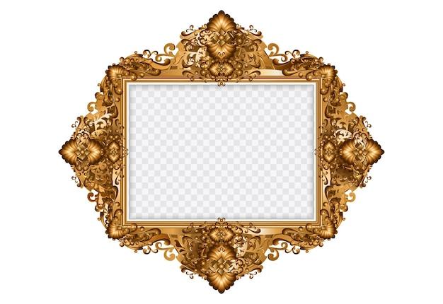Dekorativer vintage rahmen. oval gold fotorahmen mit ecke thai linie blumen für bild