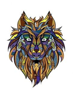 Dekorativer vintage wolf raubtier