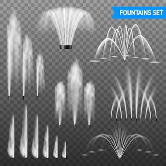 Dekorativer wasserbrunnen-strahlensatz im freien des größenbereichs der verschiedenen formen gegen transparenten hintergrund