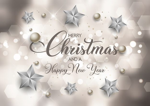 Dekorativer weihnachts- und neujahrshintergrund mit bokeh-lichtdesign