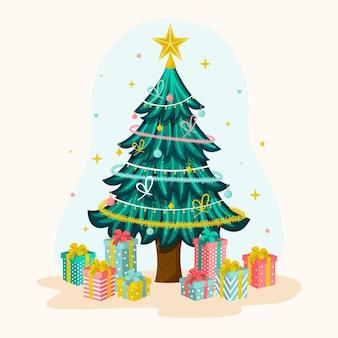 Dekorativer weihnachtsbaum mit verpackten geschenken