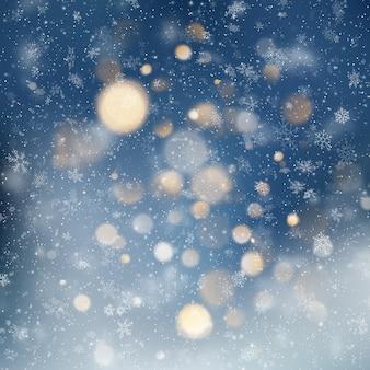 Dekorativer weihnachtshintergrund mit schnee- und bokehlichtern. abstrakter glitzerhintergrund des magischen feiertags mit blinkenden sternen und fallenden schneeflocken.