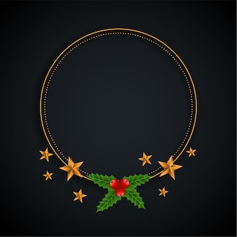 Dekorativer weihnachtsrahmen mit sternen- und blatthintergrund