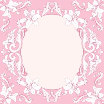 Dekorativer weinleserahmen mit lilien im rosa