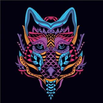 Dekorativer wolf in leuchtender neonfarbe