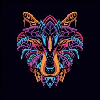 Dekorativer wolfskopf in leuchtender neonfarbe