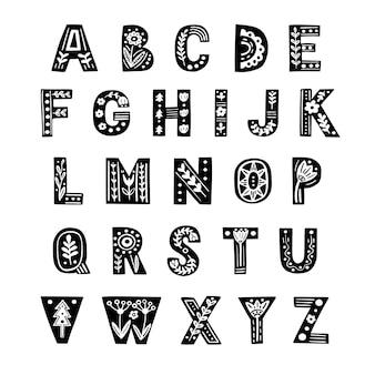 Dekoratives alphabet im skandinavischen stil vektorschriftzug im volksstil
