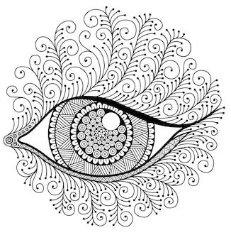 Dekoratives auge im stil von mandala all seeing eye