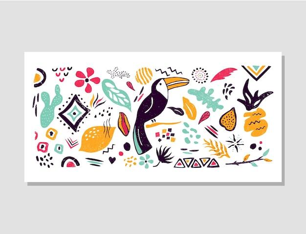 Dekoratives banner mit tropischen blättern und tukan für drucke, dekorationen, grußkarten, einladungen. handgezeichnete strukturierte elemente