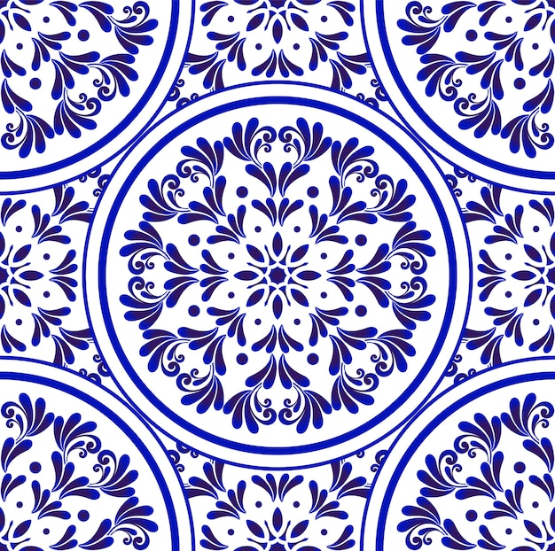 Dekoratives blaues muster