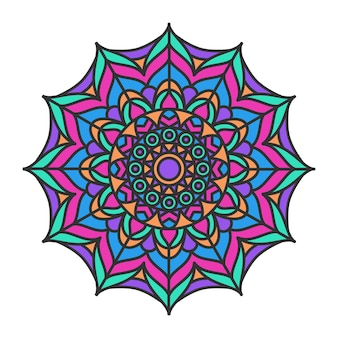 Dekoratives dekoratives mandala-musterdesign bunt. rundes dekoratives element