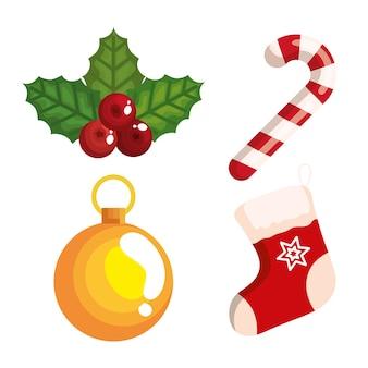 Dekoratives design der weihnachtszuckerstange und der ikonen