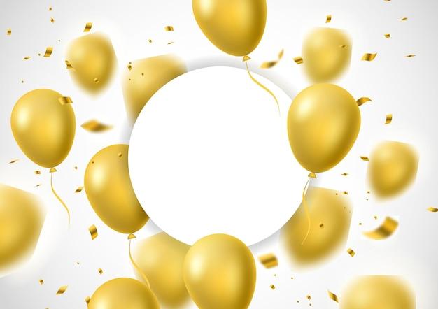 Dekoratives design des goldballons mit kreispapier für ihren text lokalisierte weiße hintergrundvektorillustration