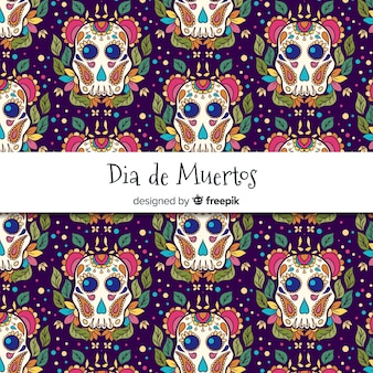 Dekoratives dia de muertos-muster