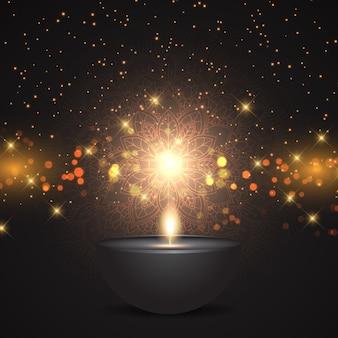 Dekoratives diwali festival der lichterhintergrundgestaltung