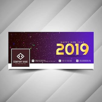 Dekoratives fahnendesign des neuen jahres 2019 des social media