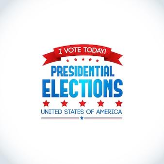 Dekoratives farbiges designplakat auf weiß mit slogan, um heute über präsidentschaftswahlen in den vereinigten staaten von amerika abzustimmen