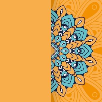 Dekoratives florales buntes halbes mandala-ethnizitätsillustrationsdesign