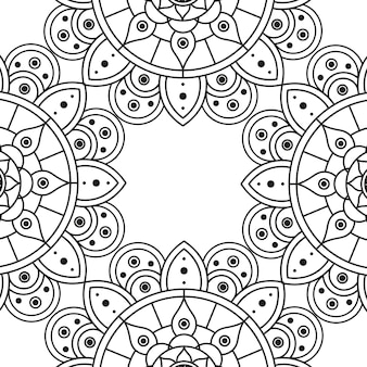 Dekoratives florales monochromes mandala-ethnizitätsrahmenvektorillustrationsdesign