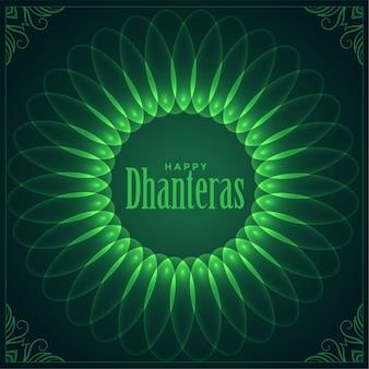 Dekoratives glückliches dhanteras festival wünscht glänzendes kartendesign
